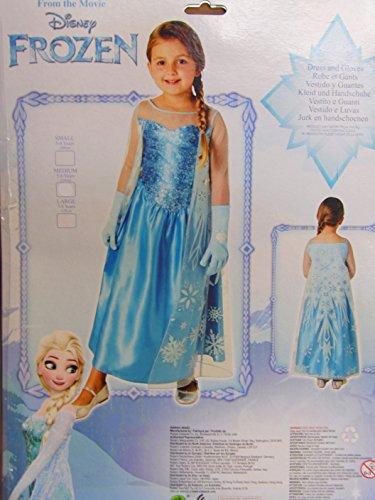 Disney FROZEN Elsa-Kostüm Kleid mit Glitzer-Umhang plus 2 Handschuhe Verkleidung