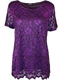 ab4a73195584b WearAll - Grande taille dentelle doublé festonné t-shirt top à manches  courtes - Hauts