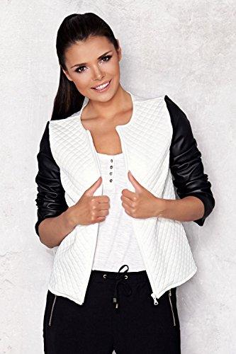 Capri Moda – Damen Reißverschluss Jacke Gesteppt Design Kunstlederärmeln – A110 - 3