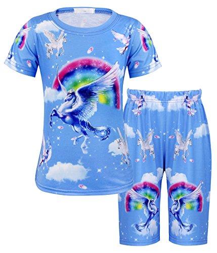 AmzBarley M?dchen Weich Einhorn Gedruckt Pyjama-Set Nachtw?sche Kurzarm Hemd mit kurzen Schlaf Hosen 3-4 Jahre