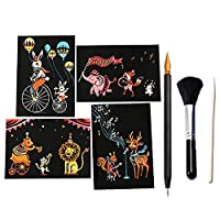 4 Sheets Rainbow Scratch Art Painting Paper + 1pcs Bamboo Stick + 1pcs Scratch Pen + 1pcs Black Brush for Children Kids Drawing Tools