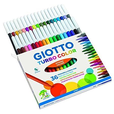 Giotto 4180 00 – Turbo Color Faserschreiber, Kartonetui 36 sortierte Farben