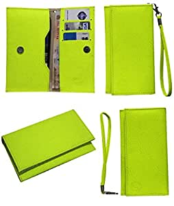 Jo Jo A5 G8 Leather Wallet Universal Pouch Cover Case For Alcatel One Touch Hero 2 Plus Parrot Green