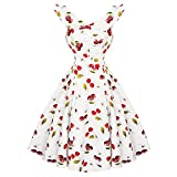 Search : Hearts & Roses London Floral Cherry Ivory 1950s Retro Vintage Flared Sun Dress