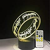 HYDYI Seigneur des Anneaux 3D Illusion Lampe De Bureau 7 Couleur 3D Lampe Enfants Cadeau Touch Veilleuse pour Enfants Cadeau De Vacances