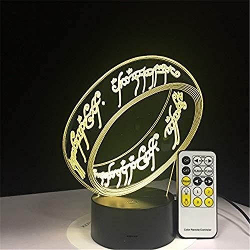 HYDYI Señor De Los Anillos Ilusión 3D Lámpara De Escritorio Lámpara De 7 Colores 3D Regalo De Los Niños Luz Táctil… 3