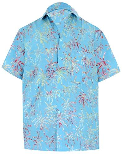 La leela cotone tasto hawaiano crociera lungo spiaggia taschino della camicia turchese 628 xl