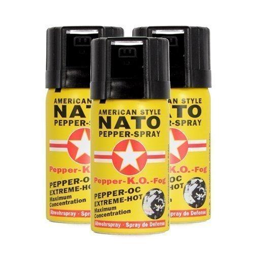 Pfefferspray American Style NATO 40ml Extreme Pepperspray Abwehrspray Fog 3 Stück im Set