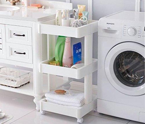 Krevia 4 Tiers Storage Rack Rolling Wheels Cart Home Kitchen Organizer Utility Baskets Shelves, (White)
