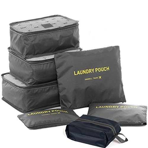 ubagoo 7pcs Set Reise Gepäck Organizer Taschen Verpackung Cubes Travel Essentials Cosmetics Unterwäsche Kleidung Schuhe Storage Bag Pouch Organisatoren (3Würfel + 3Beutel + 1Premium Schuhe Tasche) grau