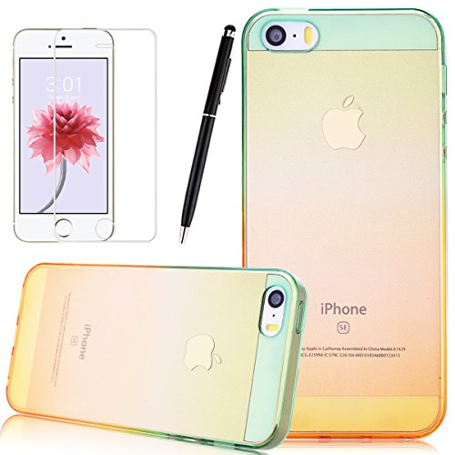 HB-Int 3 en 1 Transparente Housse TPU Etui pour iPhone SE / 5 / 5S Clear Invisible Case Cover Deux Couleurs Design Coque Doux Silicone Gel Couverture Légère Slim Flexible Coque Protecteur Fonction Ant Jaune Vert