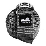 REEHUT Cinghia Yoga Strap Cintura Yoga Belt Regolabile in CotoneResistente con Fibbia a D per Stiramento Allenamento Flessibilità Fisioterapia Yoga Pilates Fitness - 300cm Grigia