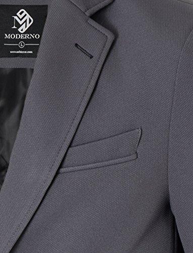 MODERNO Slim Fit Freizeit Baumwolle Herren Sakko Blazer (MOD14522B) Grau