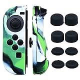 Pandaren® Handgriff Silikon Abdeckung Haut Hülle Anti-Rutsch für Nintendo Switch Controller x 2 (Tarnung Grün) Mit FPS PRO Daumen Griffe aufsätze x 8