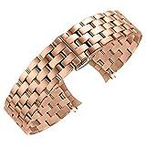 Luxus Edelstahl Gebogene Ende poliert uhrenarmband Armband ersatz mit schmetterlingsverschluss für männer Frauen Rose Gold 16mm