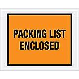 "Aviditi PL22pre-printed Envelope,""PACKING LIST Enclosed"", 17,8cm di lunghezza x 5–1/5,1cm""di larghezza x 2mil Thick, Orange (case of 1000)"