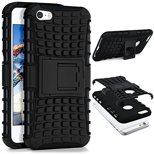MoEx iPhone 5S Hülle Silikon Hard-Case Schwarz [OneFlow Outdoor Back-Cover] Extrem Stoßfest Schutzhülle Grip Handyhülle für iPhone 5/5S/SE Case Rückseite Tasche