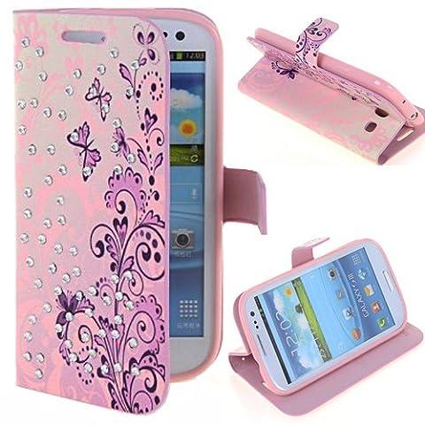 Semoss Étui de protection à rabat en cuir et strass avec porte-cartes et fonction support pour Samsung Galaxy S3 i9300/i9305 Motif fleuri