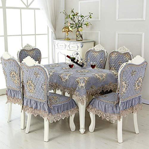 Fgjhdyjhgvk cvb ciniglia la tovaglia e i coprisedie cuscino per sedia da pranzo copertura della sedia decorazione merletti in pizzo lavabile antimacchia rettangolare 130 * 180cm/51 * 71inch,gray