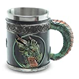mtb more energy Boccale ''Blood of The Emerald Dragon'' - Tazza del Drago (0,35l) - Verde - Altezza 11 cm - Decorazione Medievale Fantasy