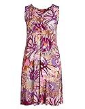 THEA by Adler Mode Damen Kleid mit Alloverdruck - Fummel, Robe, Abendkleid, Stoffkleid - Große Größen Pink/Orange/Beere 56