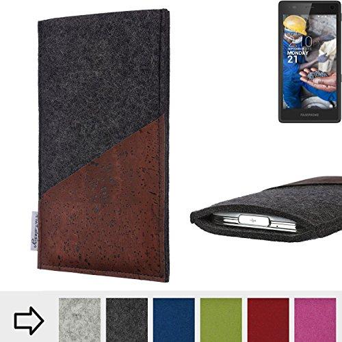 flat.design Handy Hülle Evora für Fairphone Fairphone 2 handgefertigte Handytasche Kork Filz Tasche Case fair dunkelgrau