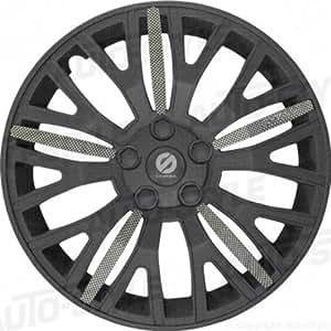 ASD TECH SP 1555U Pack de 4 Enjoliveurs Design Sparco Ultraleggera 15'' Noir Carbone