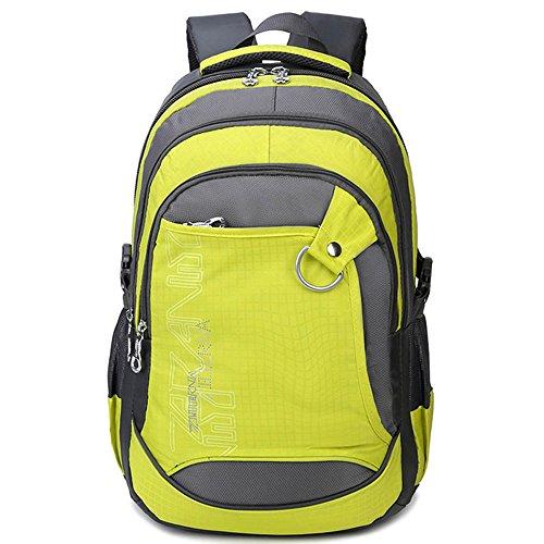 """5 ALL Rucksack 3 Fächer Groß 15,6""""Laptop A4-Format Schulrucksack für Jungen Mädchen (Gelb)"""