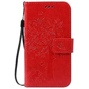 COZY HUT Motorola Moto G2 Hülle, Flip PU Leder Tasche Case Hülle im Bookstyle mit Standfunktion Kartenfächer mit Weich TPU Innere Hülle Case für Motorola Moto G2 2nd Gen Moto G 2 Generation – Rote
