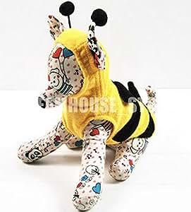 zunea Fashion kleiner Hund Katze Bumble Bee Kostüm Halloween Puppy Hoodie Fleece Pet Weste Jumper Hund Herbst Kleidung Apparel Gelb
