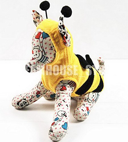 zunea Fashion kleiner Hund Katze Bumble Bee Kostüm Halloween Puppy Hoodie Fleece Pet Weste Jumper Hund Herbst Kleidung Apparel ()