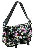 Ladies Womens Girls Satchel Canvas Cross Body Bag Messenger Bags Daisy Print QL5151M (Black Flower)