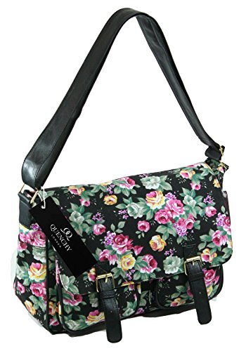 Ladies Womens Girls Satchel Canvas Cross Body Bag Messenger Bags Daisy Print QL5151M (Black Flower)