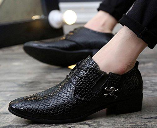 HYLM Nouveautés Chaussures Hommes Serpent Grain Métal Crâne Décoration Affaires Chaussures Casual Chaussures de mariage Chaussures de fête Nightclub black