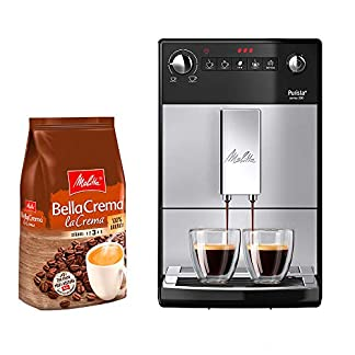 Melitta-Purista-F-230-101-Kaffeevollautomat-silberschwarz-Melitta-1kg-BellaCrema-LaCrema-Ganze-Kaffeebohnen