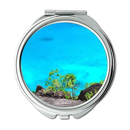 Yanteng Spiegel, Schminkspiegel, Strand Karibik Klippe, Taschenspiegel, tragbarer Spiegel