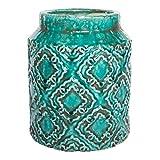 Vintage Übertopf Blumenübertopf Vase Bodenvase Keramik türkis getaucht large in Stein-Optik - Maße: 33.0 x 21.5 x 21.5 cm large