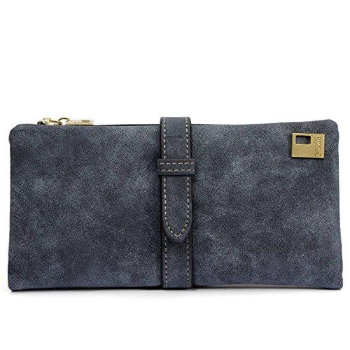 Minetom Femme Fille Élégant Portefeuille Long Porte-monnaie Coin Wallet Bag Voyage Rangement Wallet Cuir Nubuck Bouton Et ZIP