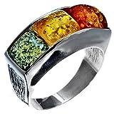 Mehrfarbiger Bernstein Sterling Silber Platz Designer Ring Größe 54 (17.3)