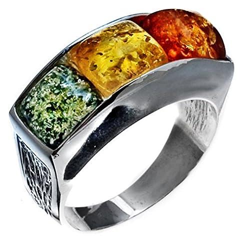 Noda bague en ambre multicolore et argent concepteur place