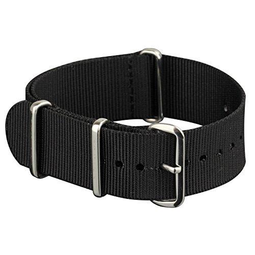 Infantry 20mm NATO Nylon Uhrenarmbänder Uhrband Uhrenband Armband Uhr Bänd Schwarz Natoband Dornschließe
