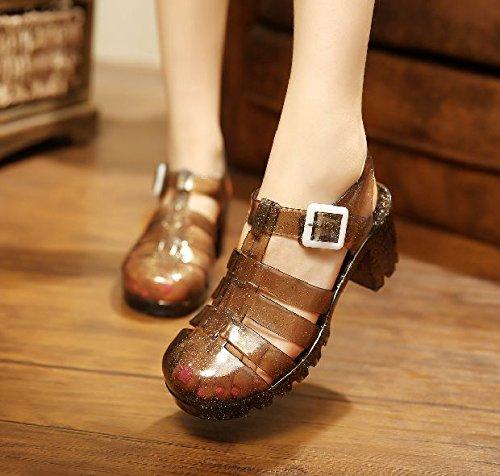 Lgk & fa estate sandali da donna estate sandali tacchi scarpe cristallo trasparente plastica sandali Baotou crude con stivali di plastica, 36 Beige 37 black