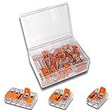 WAGO Klemme (80 Stück) Set Sortiment Serie Compact 221-412 | 221-413 | 221-415 in praktischer Klarsichtdose
