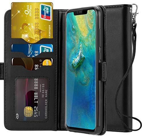 Ferilinso Hülle für Huawei Mate 20 Pro, Elegantes Echtes Leder mit ID Kreditkarten-Slots Halter Flip Cover Stand Magnetic Closure Case für Huawei Mate 20 Pro (Schwarz) -