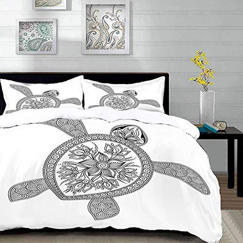 Set biancheria da letto,set copripiumino in microfibra con federa,tartaruga, figura di tartaruga artistica henna mehndi stile tatuaggio doodles ornamen,1 copripiumino 200 x 200cm + 2 federe 50 x 80 cm