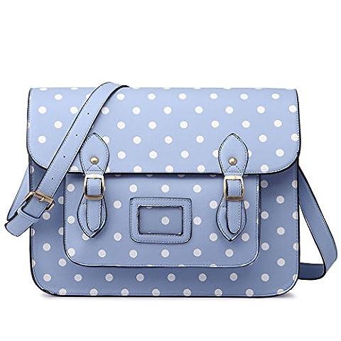 Miss Lulu Vintage Designer Faux Leather Polka Dots Work Briefcase Messenger Satchel Bag School Bag, 1665 Dots Blue, One Size