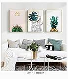 AKLIGSD Cuadros Lienzo de Pintura Cactus de piña de la Pintura al óleo del Arte para la Cocina del Dormitorio de la Sala de Estar, 50 cm X 70 cm X 3pcs (ningún capítulo)