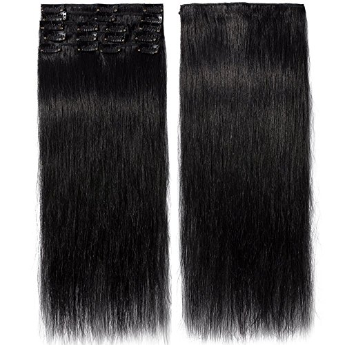Clip In Extensions Echthaar Schwarz 100% Remy Echthaar Haarverlängerung 8 Tressen (50cm-70g)