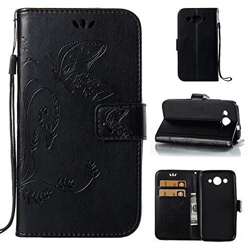 EKINHUI Case Cover Solid Color Faux Leder Bookstyle Brieftasche Stand Case mit geprägten Blumen & Lanyard & Card Slots für Huawei Y3 2017 ( Color : Purple ) Black