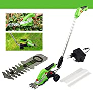 2 in 1 Cordless Grass And Hedge Trimmer, 2 Interchangeable Blades, Battery Powered Lightweight Electric Trimme